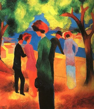 August Macke reproductions - Woman in a Green Jacket  1913