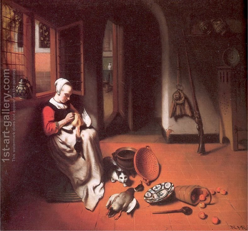 Huge version of Woman Plucking a Duck 1655-56