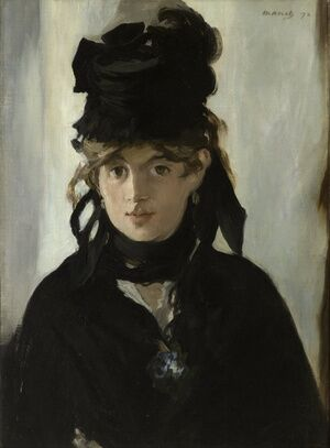 Famous paintings of Women: Berthe Morisot Holding a Bunch of Violets  1872