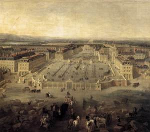 Famous paintings of Squares and Piazzas: View of Versailles 1722