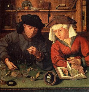 Renaissance - Northern painting reproductions: The Moneylender and his Wife 1514