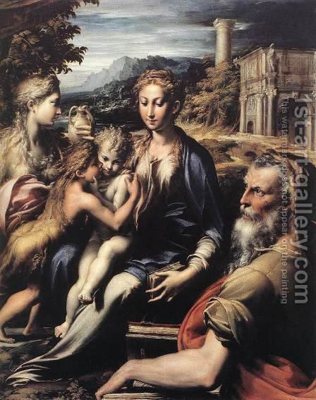 Madonna and Child with Saints c. 1530 by Girolamo Francesco Maria Mazzola (Parmigianino) - Reproduction Oil Painting