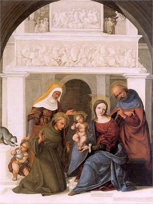 Famous paintings of The Holy Family: The Holy Family with Saint Francis 1520