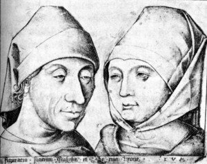 Famous paintings of Couples: The Artist and his Wife Ida c. 1490