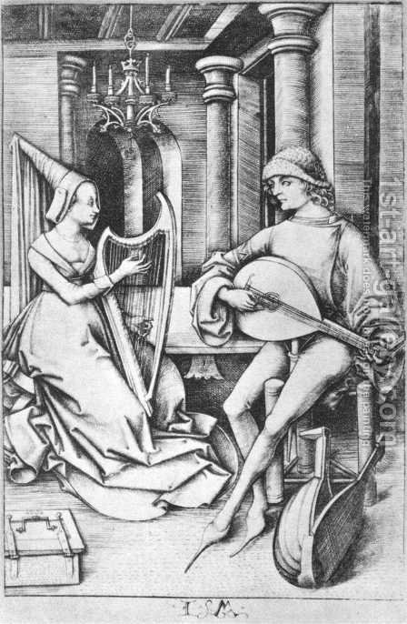 The Lute Player and the Harpist c. 1490 by Israhel van, the Younger Meckenem - Reproduction Oil Painting