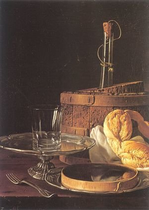 Famous paintings of Bread: Still-Life with a Box of Sweets and Bread Twists  1770