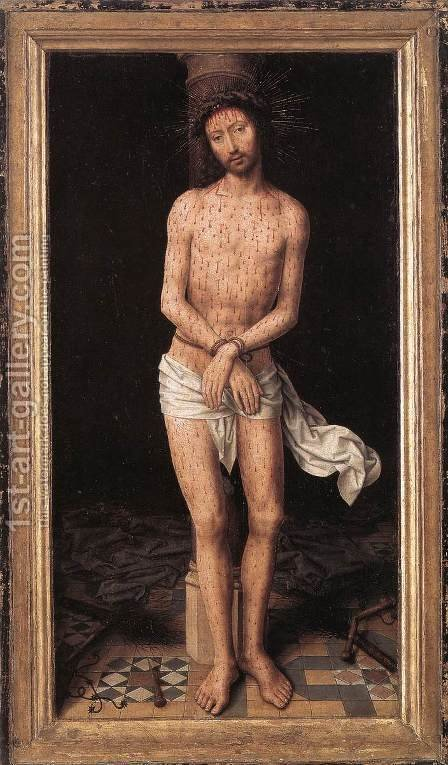 Christ at the Column 1485-90 by Hans Memling - Reproduction Oil Painting