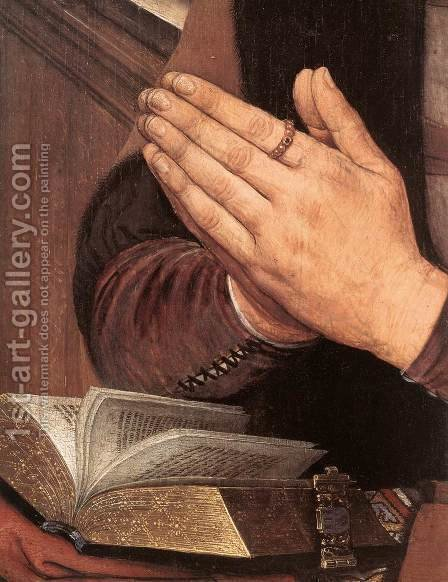 Diptych of Maarten Nieuwenhove (detail-2) 1487 by Hans Memling - Reproduction Oil Painting