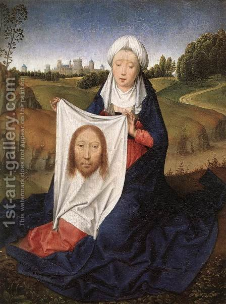 St John and Veronica Diptych (right wing) c. 1483 by Hans Memling - Reproduction Oil Painting