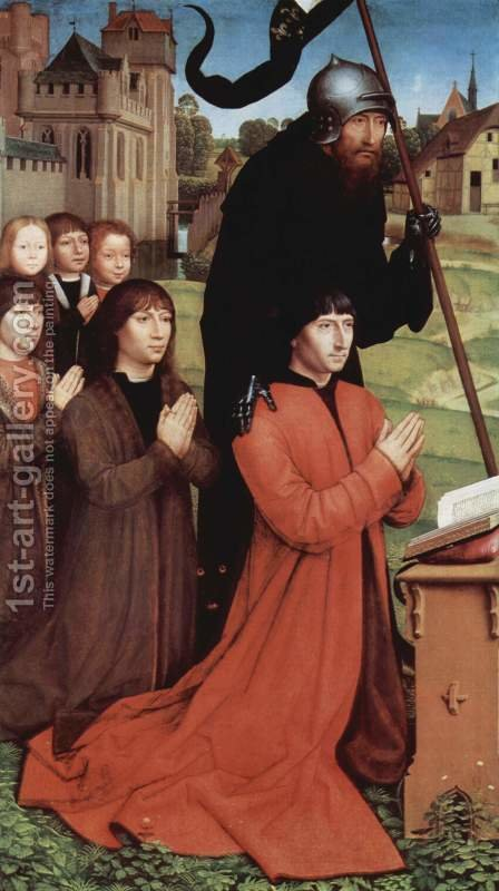 Triptych of the Family Moreel (left wing) 1484 by Hans Memling - Reproduction Oil Painting