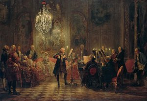 Famous paintings of Interiors: A Flute Concert of Frederick the Great at Sanssouci 1852