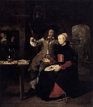 Famous paintings of Couples: Portrait of the Artist with His Wife Isabella de Wolff in a Tavern 1661