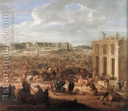 Construction of the Chateau de Versailles 1669 by Adam Frans van der Meulen - Reproduction Oil Painting