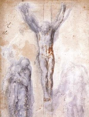 Reproduction oil paintings - Michelangelo - Christ Crucified between the Virgin and Nicodemus c. 1552-54