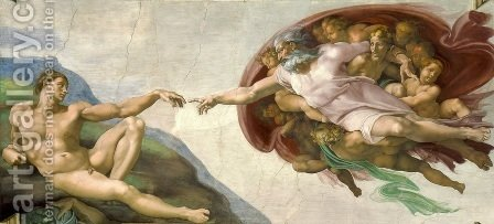 Michelangelo: Creation of Adam  1510 - reproduction oil painting