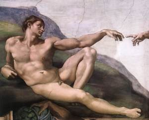 Reproduction oil paintings - Michelangelo - Creation of Adam (detail-1) 1510