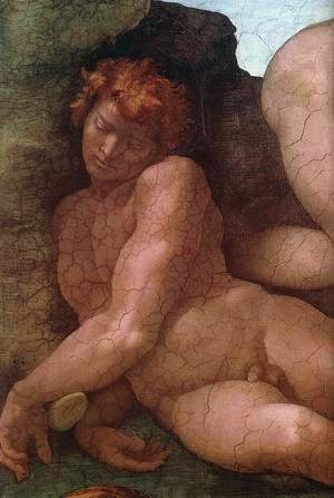 Reproduction oil paintings - Michelangelo - Creation of Eve (detail-1) 1509-10