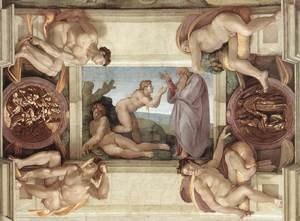 Reproduction oil paintings - Michelangelo - Creation of Eve (with ignudi and medallions) 1509-10
