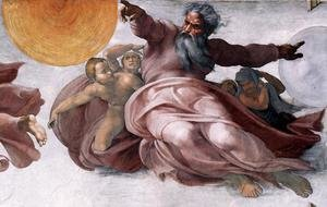 Reproduction oil paintings - Michelangelo - Creation of the Sun, Moon, and Plants (detail-1) 1511