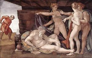 Reproduction oil paintings - Michelangelo - Drunkenness of Noah 1509