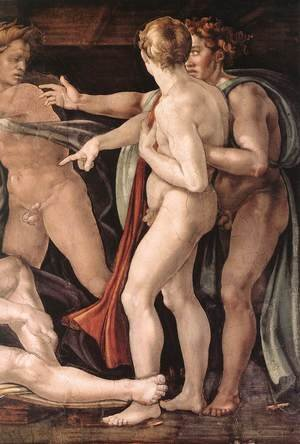 Reproduction oil paintings - Michelangelo - Drunkenness of Noah (detail-2) 1509