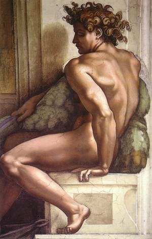 Reproduction oil paintings - Michelangelo - Ignudo -1  1509