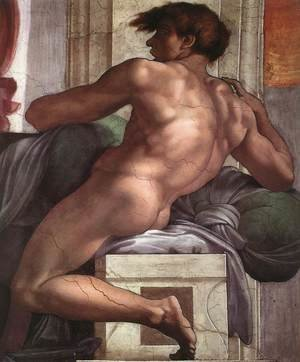 Reproduction oil paintings - Michelangelo - Ignudo -1  1511