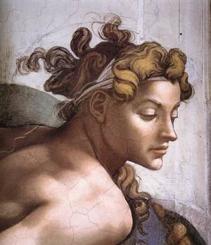 Reproduction oil paintings - Michelangelo - Ignudo -2 (detail) 1509