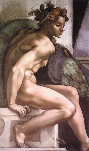 Reproduction oil paintings - Michelangelo - Ignudo -2  1509