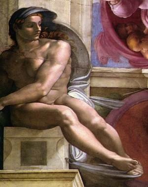 Reproduction oil paintings - Michelangelo - Ignudo -2  1511