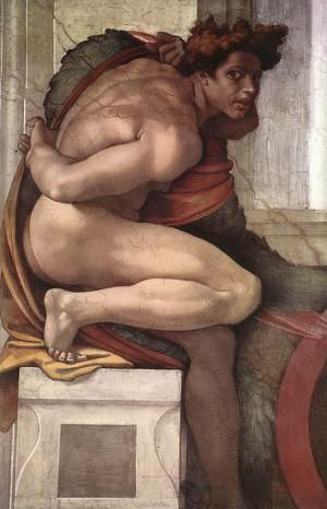 Reproduction oil paintings - Michelangelo - Ignudo -3  1511