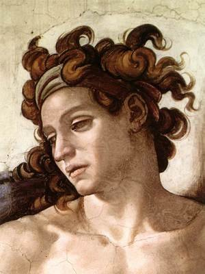 Reproduction oil paintings - Michelangelo - Ignudo -4 (detail) 1509