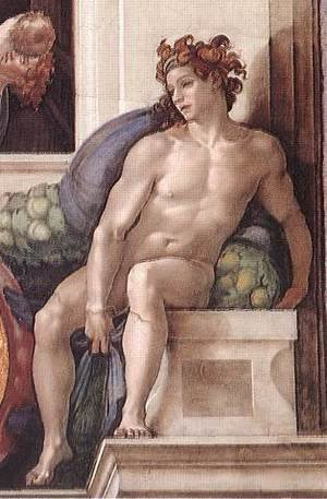 Reproduction oil paintings - Michelangelo - Ignudo -4  1509