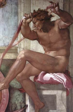 Reproduction oil paintings - Michelangelo - Ignudo -4  1511
