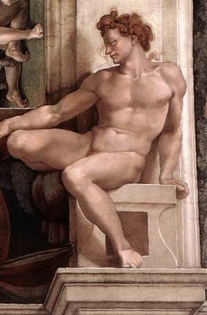 Reproduction oil paintings - Michelangelo - Ignudo -5  1509