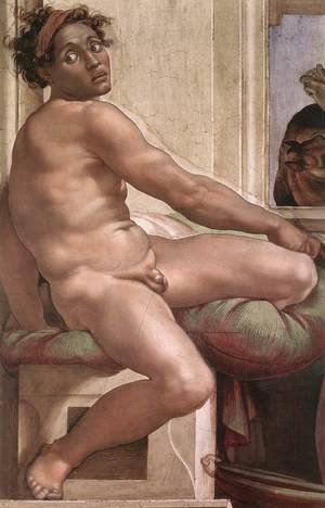 Reproduction oil paintings - Michelangelo - Ignudo -6  1509
