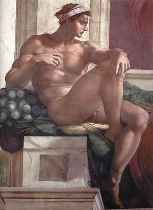 Reproduction oil paintings - Michelangelo - Ignudo -6  1511