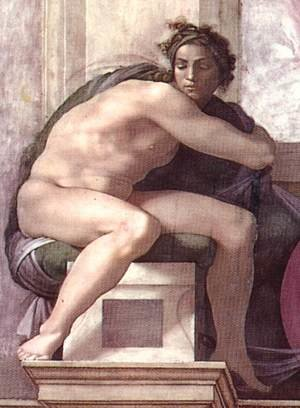 Reproduction oil paintings - Michelangelo - Ignudo -7  1511