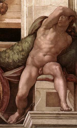Reproduction oil paintings - Michelangelo - Ignudo -8  1509