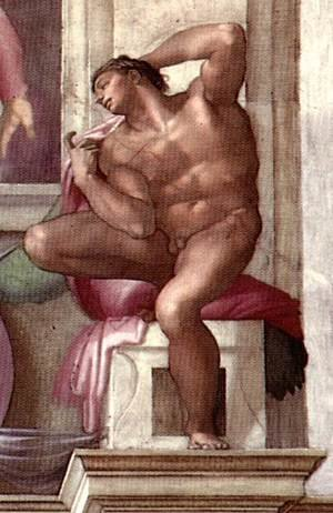 Reproduction oil paintings - Michelangelo - Ignudo -8  1511