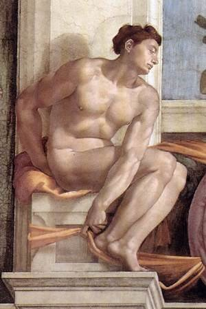 Reproduction oil paintings - Michelangelo - Ignudo -10  1509