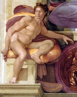 Reproduction oil paintings - Michelangelo - Ignudo -11  1509