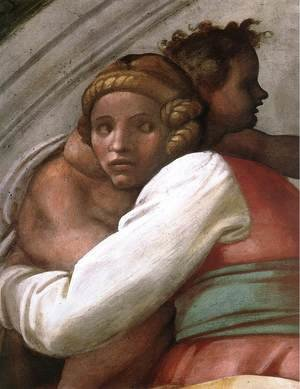 Reproduction oil paintings - Michelangelo - Josiah - Jechoniah - Shealthiel (detail-1) 1511-12