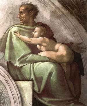 Reproduction oil paintings - Michelangelo - Josiah - Jechoniah - Shealthiel (detail-2) 1511-12
