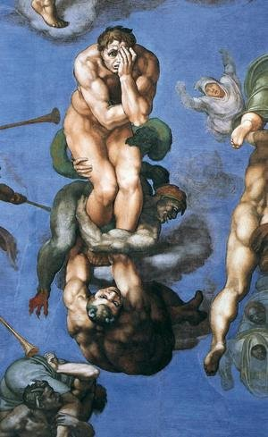 Famous paintings of Devils & Demons: Last Judgment (detail-23) 1537-41