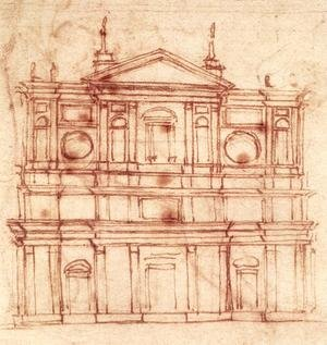 Reproduction oil paintings - Michelangelo - Project for the facade of San Lorenzo, Florence c. 1517