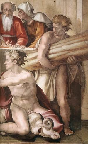 Reproduction oil paintings - Michelangelo - Sacrifice of Noah (detail-2) 1509