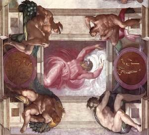 Reproduction oil paintings - Michelangelo - Separation of Light from Darkness (with ignudi and medallions) 1511