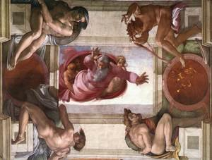Reproduction oil paintings - Michelangelo - Separation of the Earth from the Waters (with ignudi and med Caallions) 1511