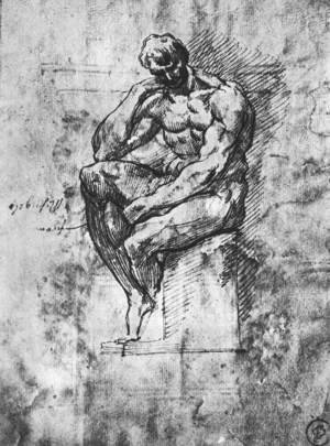 Reproduction oil paintings - Michelangelo - Study of a Man 1510-11